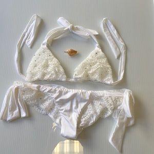 Beach bunny white Swarovski bridal bikini small